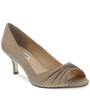 Nina Carolyn Womens Taupe Wonderworld Peep Toe Glitter Pumps Shoes 10 M NEW $85