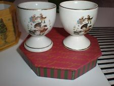 VINTAGE CUTE FOR KIDS EGG HOLDERS 2 PORCELAIN WHITE WITH GOLD TRIM