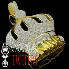 Yellow Gold Sterling Silver Iced Out King's Crown Simulated Lab Diamond Pendant