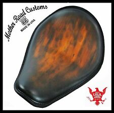Smooth Antique Brown Leather Spring Solo Seat Chopper Harley Sportster Custom