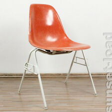 Eames side shell chair terracotta fibre de verre sur regrouper base 60er 70er ans