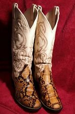 Larry Mahan Women's Boots Python Reptile Exotic Snakeskin Leather Cream 6.5