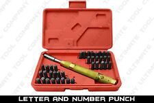 38pc Letter And Number Punch Set Solid Brass Automatic Punch Two Symbols W/Case