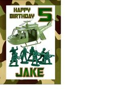 Toy Soldiers Army Birthday card Personalised A5