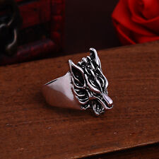 NEW for Men's 316l stainless steel Fashion Punk design wolf ring US size10 T38