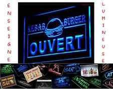 LED PANNEAU RESTAURANT COMMERCE BURGER KEBAB OUVERT PUB ENSEIGNE LUMINEUSE NEON