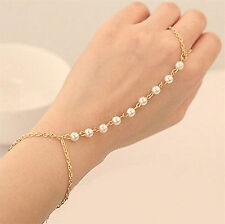 Great Charm Pearl Bracelet Bangle Slave Gold Chain Link Finger Ring Hand Harness