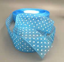 10Yards 25mm Light blue dot Satin Edge Sheer Organza Ribbon Bow Craft Wedding