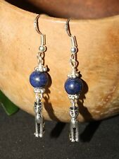 Bast & Lapis Lazuli Earrings - Egyptian Goddess - Sterling SIlver, Pagan, Wicca