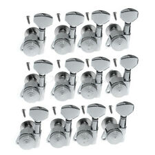 12pcs Left Handed Chrome Guitar String Tuning Pegs Locking Tuners Machine Heads