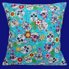 DAY OF THE DEAD MEXICAN SUGAR SKULLS FOLKLORE JADE 40.6cm Pillow Cushion Cover