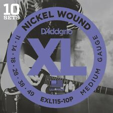 10 PACK D'ADDARIO EXL115 GUITAR STRINGS NICKEL WOUND MEDIUM 11-49 EXL115-10P