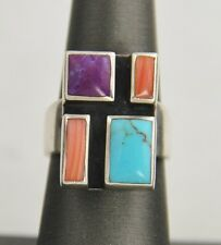 VINTAGE THAI STERLING SILVER & INLAID INLAY GEMSTONE MODERNIST  RING - SZ 6 11g