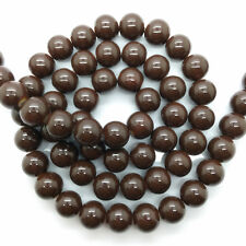 New 6mm 50pcs Brown Glass Pearl Round Spacer Loose Beads Jewelry Making