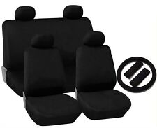 Black Cloth Seat Covers 4 Headrests Steering Wheel Cover 13pc CS4