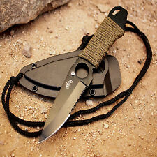 Ultimate SURVIVAL Neck Boot Knife FULL Tang With Serrated Edge And Sheath NEW
