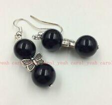 Original Ethnic Style Tibet silver butterfly  natural Obsidian beads earrings