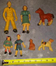 Antique Dollhouse Family Latexture Latex Hollow Rubber Dolls - Rare HTF