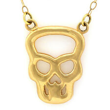 Petite & Charming 10k Solid Yellow Gold  Skull Necklace 17 Inch Long
