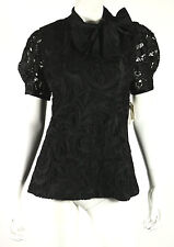 NAEEM KHAN $1,950 NWT Black Guipure Lace Overlay Silk Bow Collar Blouse 8