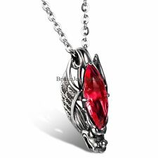 Vintage Dragon Head Red/Blue Glass Pendant Stainless Steel Mens Womens Necklace