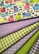 6 XFat Quarters Bundles Fabric Craft Bunting Sewing Cats Gingham Lime Lilac Pink