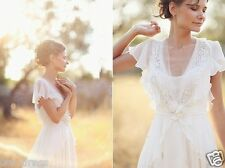 2017 Simple Cap Sleeve Chiffon Outdoor Bridal Gowns Bohemian Wedding Dresses