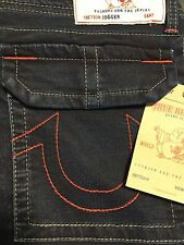 NWT TRUE RELIGION JEANS Sz34 JOGGER W/FLAP GREY RED COMBO RELAXED PANTS BLUE$229