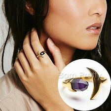 Purple Crystal Moon Ring Posh Gold Open Ring Alloy Gemstone Finger Jewelry Gift