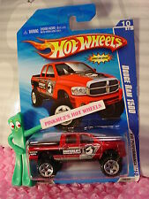 2010 Hot Wheels DODGE RAM 1500 truck #108∞Red;Black/silver/White Superlift∞