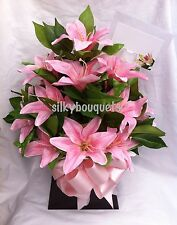 Artificial Silk Flower Mothers Day Box Bouquet Pink Lily Gift Valentines Bloom