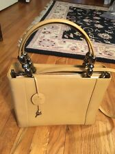 CHRISTIAN DIOR MARIS PEARL PATENT LEATHER PURSE BEIGE/ MUSTARD COLOR