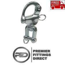 87MM Stainless Steel Jaw Swivel Snap Shackle With Pin - Marine Rigging Release
