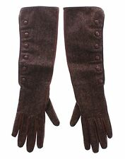 NWT $600 DOLCE & GABBANA Brown Wool Lambskin Leather Elbow Gloves s. 7 / S