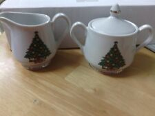 "Mount Clemens Pottery Christmas Tree Gold Trim 3-3/8"" Creamer & 3"" Sugar Bowl"