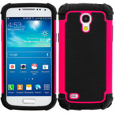 For Samsung Galaxy S4 Mini Hybrid Rugged Matte Shockproof Case Cover Hot Pink