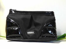 Burberry Black Patent Leather Nylon Zip Cosmetic Pouch Clutch.