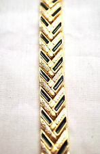 LADIES 7.5 INCH MAGNETIC THERAPY LINK BRACELET: Silver, Gold & Black Chevron