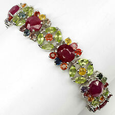 925 STERLING SILVER 33.20 CTW SAPPHIRE, PERIDOT & RUBY BRACELET 7.1 INCHES