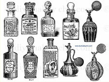 A6 FRENCH FURNITURE DECAL CHIC IMAGE TRANSFER VINTAGE PERFUME BOTTLE STICKER