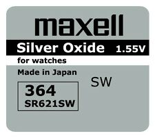 5 NEW SR621SW 364 Silver Oxide 1.55V Watch Battery Made in Japan FREE SHIPPING