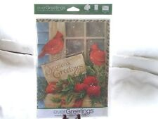 New Ever Greetings Card & Garden Yard Flag Gift Cardinal Red Birds Seasons Greet