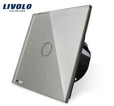 1 Gang Touch taster Impulsschalter Livolo Grau Kristall Glas VL-C701B-11
