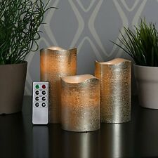 Set of 3 Gold Wax Flameless Battery Candles with Timer and Remote