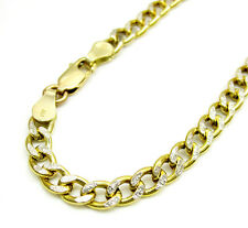 "4Grams 4.5mm 8"" Mens 10k Yellow Two Tone Gold Cuban Curb Diamond Cut Bracelet"