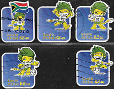 SOUTH AFRICA 2010 WORLD CUP SOCCER COMPLETE POSTALLY USED Sc#1405-9 BoB946