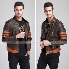 X-MEN LOGAN WOLVERINE ORIGINS BROWN BOMBER REAL LEATHER JACKET