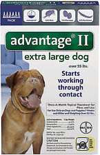 Advantage II For Extra Large Dogs Over 55 lbs, BLUE 6 Pack - New! Free Shipping!