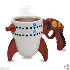 Novelty Ceramic Mug Coffee Cup - The Retro Ray Gun Rocket New