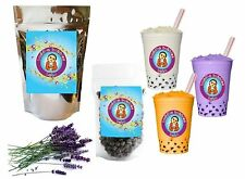 10+ Drinks Lavender Boba Tea Kit: Tea Powder, Tapioca Pearls & Straws